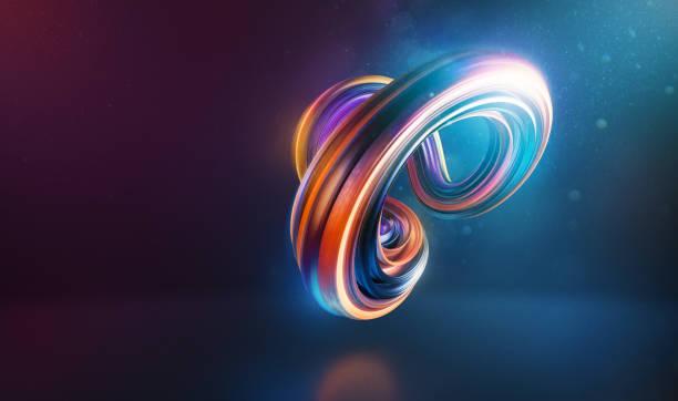 抽象彎曲和扭曲的形狀 3d 渲染 - 彈性 個照片及圖片檔