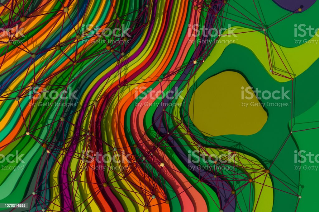 Abstract curved Layers with network overlay stock photo
