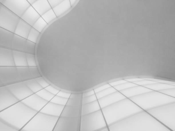 Abstract curves with white illuminated panels - foto stock