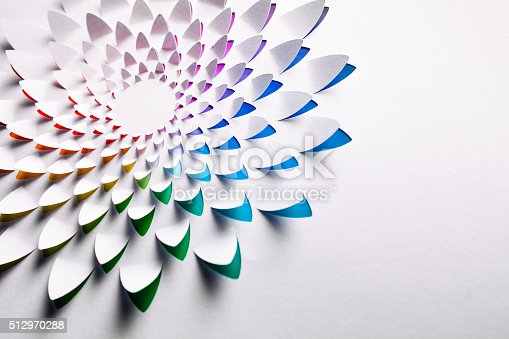 Macro photography of an abstract flower pattern cutted into a white sheet of paper, combined with a radial gradiant of rainbow colors. Photo captured with a Zeiss Makro-Planar T* 2/50mm at f9.