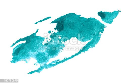 467414017 istock photo Abstract cyan watercolor background. Colorful aquarelle paint texture. Brush stroke isolated on white . Vivid ink stain pattern. Paint splash. 1190780875