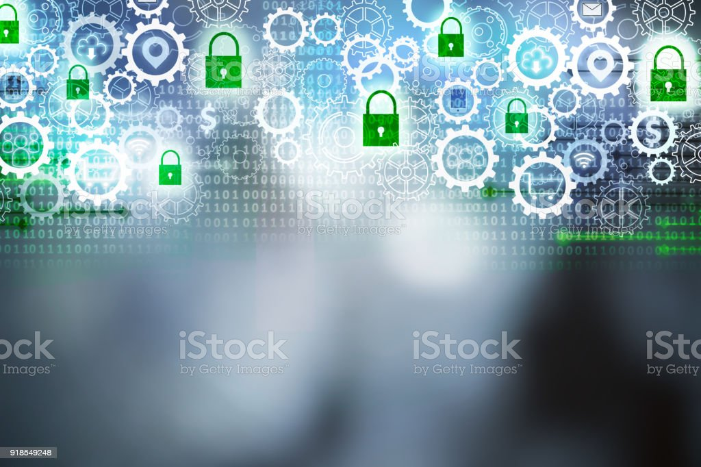 Cyber-Sicherheit-Hintergrund mit Zahnrädern und grüne Vorhängeschloss Ikonen, Konzepte, Technologie, Sicherheit und Privatsphäre zu abstrahieren – Foto