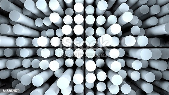 istock Abstract cylinders and their reflections 848352572