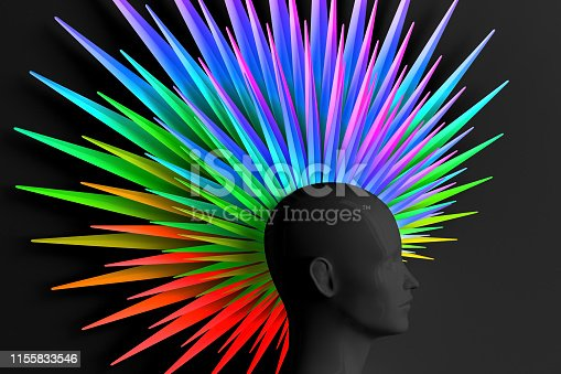 Abstract dark background with female profile and the caller fashionable hair style Mohawk painted in the colors of the rainbow. LGBT concept. 3D illustration