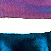 Abstract dark blue and purple watercolors hand paint on white background. Detail or closeup brush stroke texture.