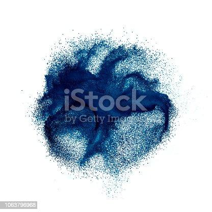 istock Abstract dark blue powder splatter on white background 1063796968