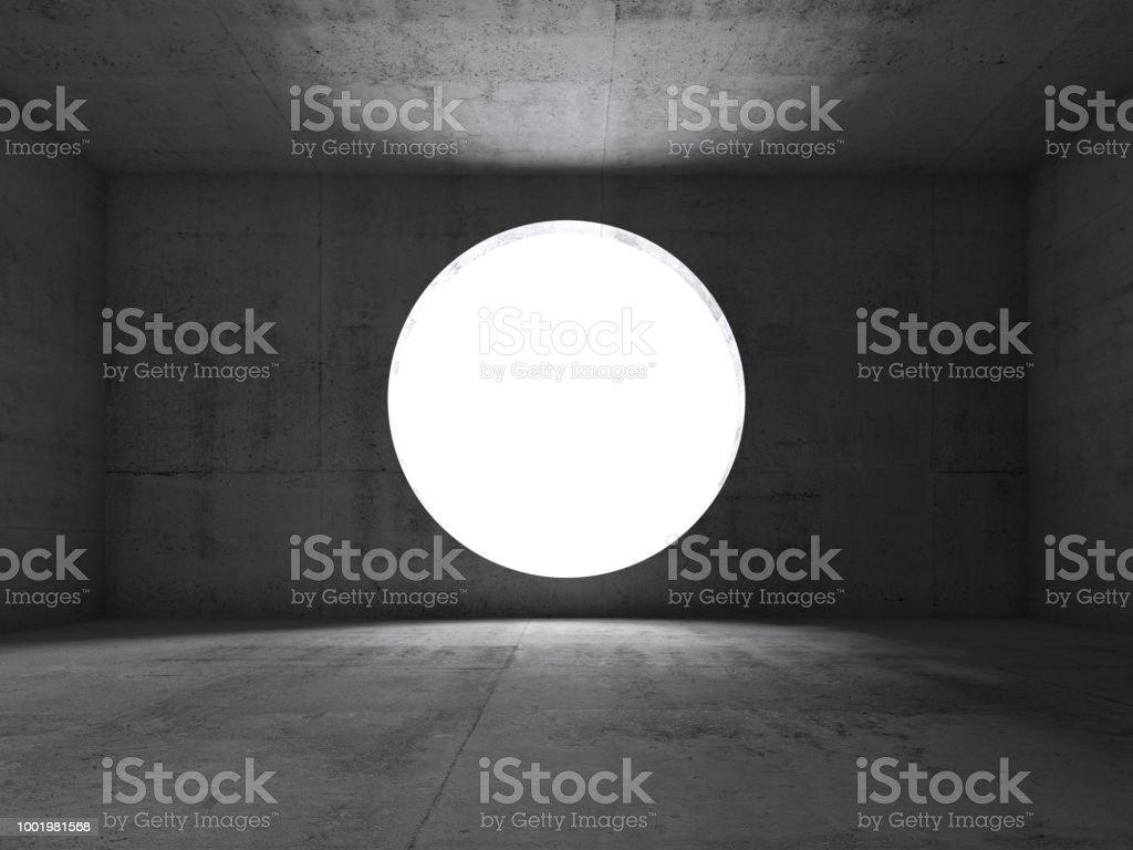 Abstract dark concrete interior, front view stock photo