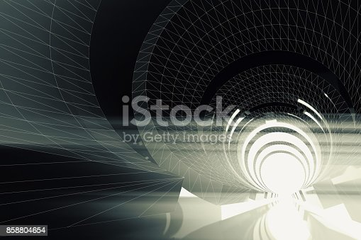 859156600 istock photo Abstract dark digital tunnel background 3 d 858804654