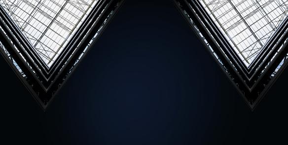 Abstract dark geometric background. Black minimalism. Blue neon triangle.