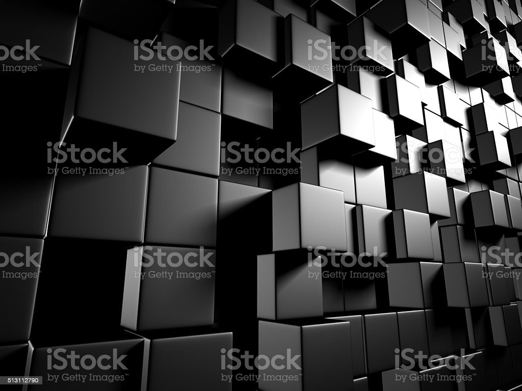 Abstract Dark Metallic Cubes Wall Background stock photo