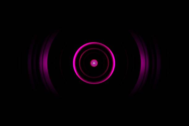 Abstract dark ping ring with sound waves oscillating background stock photo
