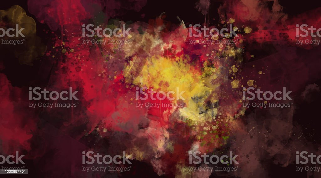 Abstract dark red watercolor background. Bright multi colored spots. stock photo