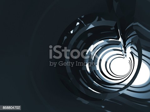 859156600 istock photo Abstract dark shining tunnel interior 3 d 858804702