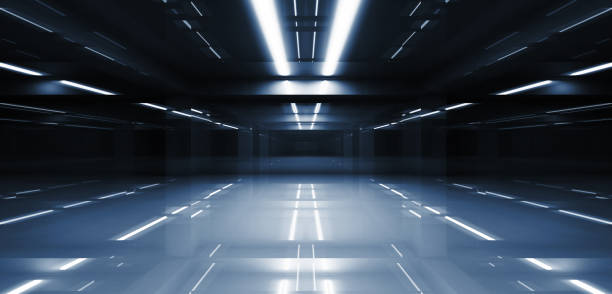 abstract dark tunnel perspective 3d - futuristic stock pictures, royalty-free photos & images