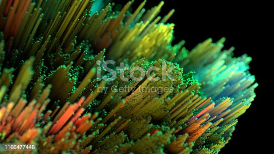 Abstract data background with growing fiber optic lines in green and yellow
