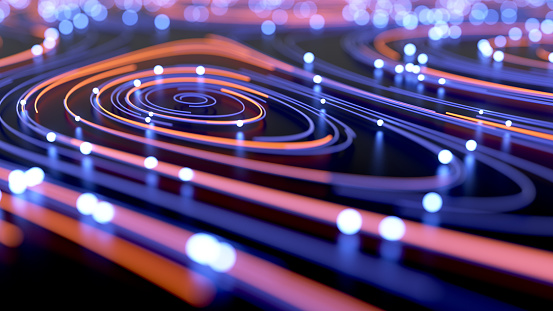 Abstract background of wires and glowing particles
