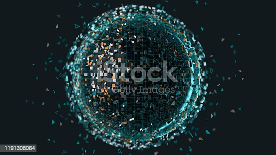 A dark sphere emitting particles