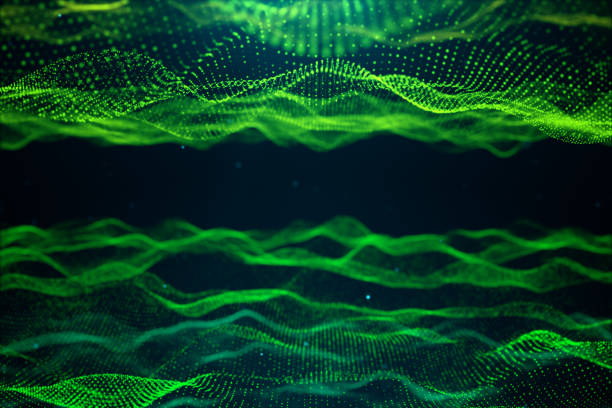 Abstract data technology. Digital landscape with particles, dots. Cyberspace technology. Wavy surface consisting of points - transferring big data. 3D illustration stock photo