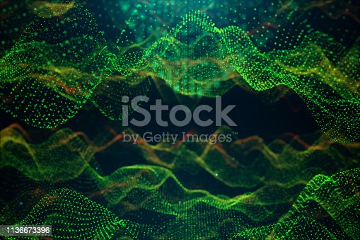 1162932025 istock photo Abstract data technology. Digital landscape with particles, dots. Cyberspace technology. Wavy surface consisting of points - transferring big data. 3D illustration 1136673396