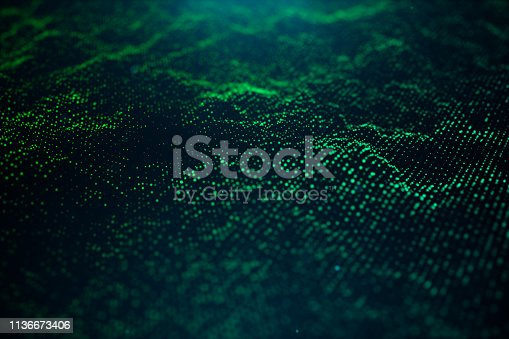1162932025 istock photo Abstract data technology. Digital landscape with particles, dots. Cyberspace technology. Wavy surface consisting of points - transferring big data. 3D illustration 1136673406