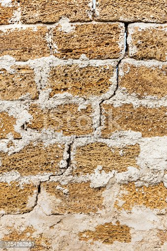 Abstract decorative wall of natural stone. Background, limestone wall texture, shell rock blocks. Great background or texture. Landscape style