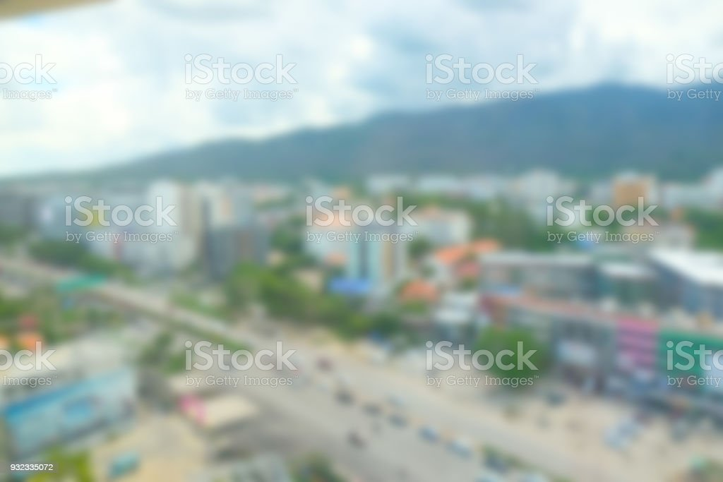Abstract defocused background high point of view city at Chiang Mai stock photo