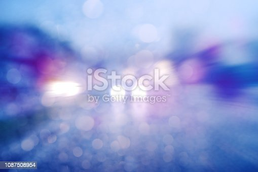 1054750504 istock photo Abstract defocused bokeh road view through car window blurry with heavy rain. 1087508954