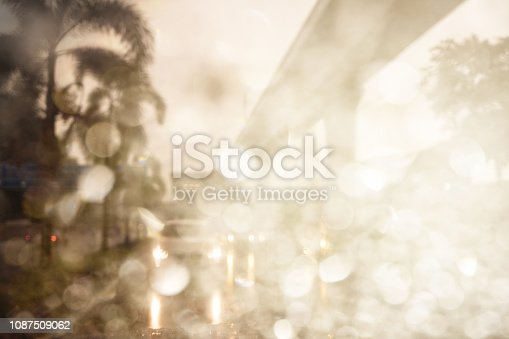 1054750504 istock photo Abstract defocused bokeh road view through car window blurry with rain drops bokeh. 1087509062
