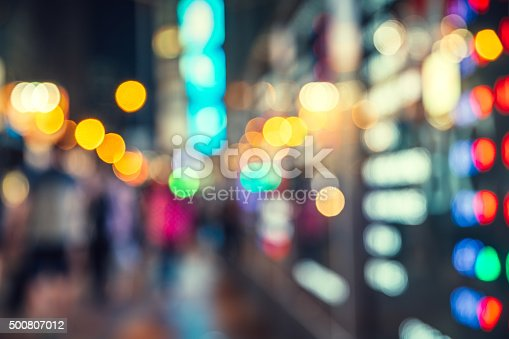 517687466istockphoto Abstract defocused street scene in Hongkong, China 500807012