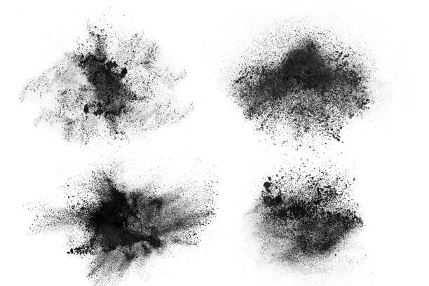 Abstract design of set dark powder explosion Abstract design of set dark powder particles explosion isolated over white background powder snow stock pictures, royalty-free photos & images