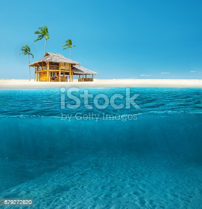 Abstract design of tropical sea water split line with underwater and sky