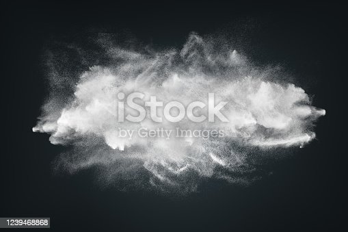 862273526 istock photo Abstract design of white powder cloud on dark background 1239468868