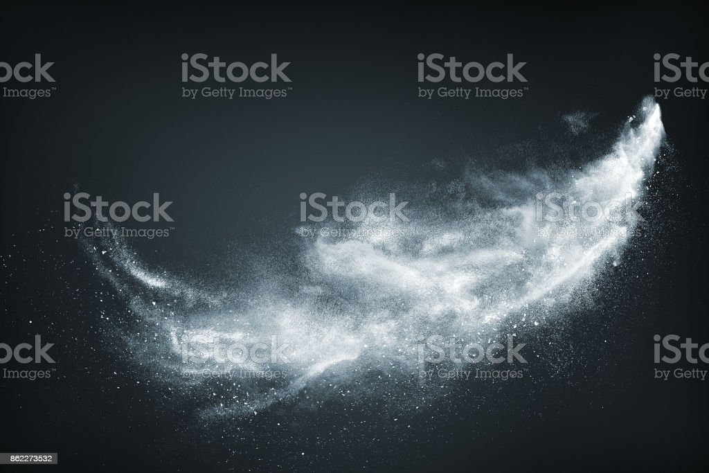 Abstract design of white powder snow cloud stock photo