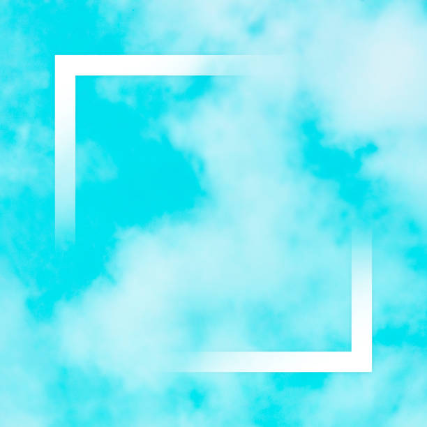 Abstract design template for a quote, teal blue sky background with soft clouds and a square frame, a texture with copy space stock photo