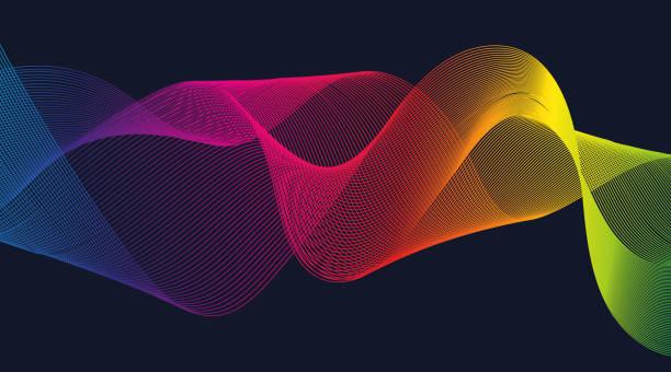 抽象設計與波浪彩色線條在深藍色背景。設計項目。3d. 向量圖形。 - 聲波 個照片及圖片檔