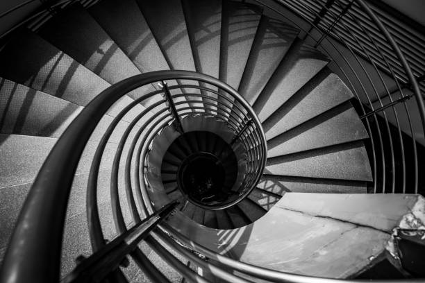 Abstract detail of a spiral staircase in black and white colour
