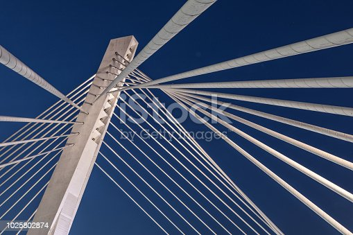 The Millennium Bridge is a cable-stayed bridge that spans the Morača River, in Podgorica, Montenegro.