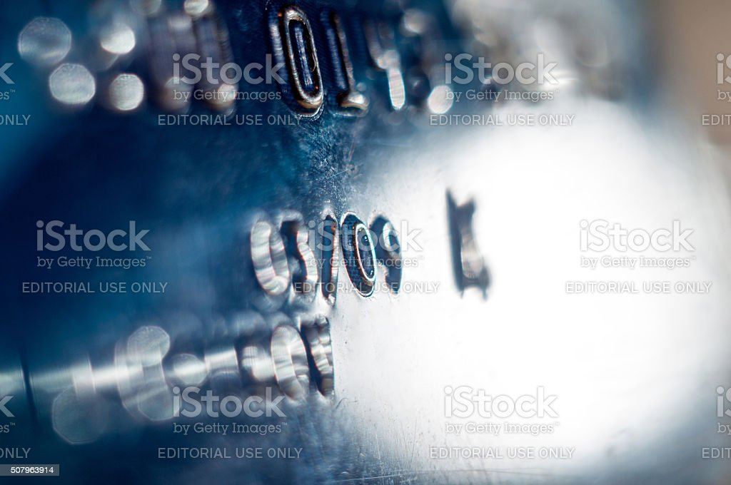 Abstract detail of credit card number stock photo