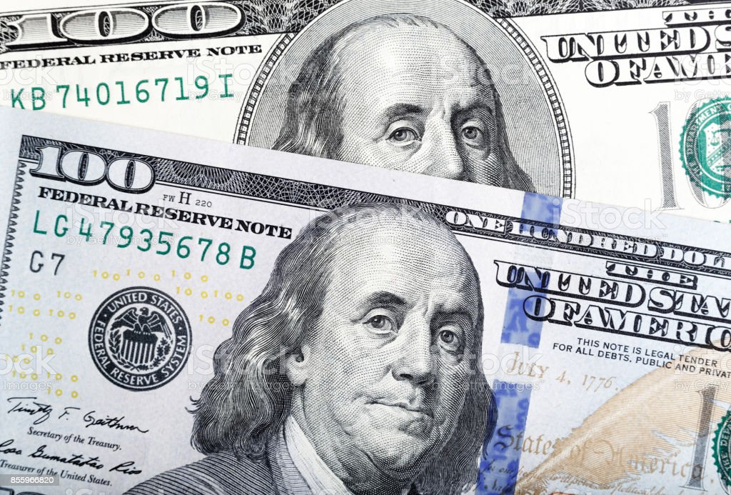 Abstract Detail of the Newly Design U.S. One Hundred Dollar Bill stock photo