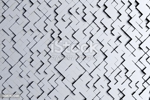istock Abstract Diagonal Black and White or Gray 3d Geometric Small Cube Tiles Background Design Pattern 968282048
