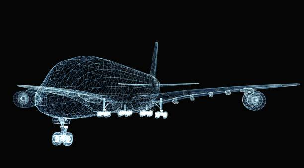 Abstract digital airplane stock photo