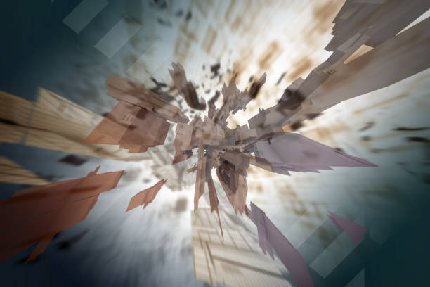 Abstract digital artwork. Several renders matte composition stock photo