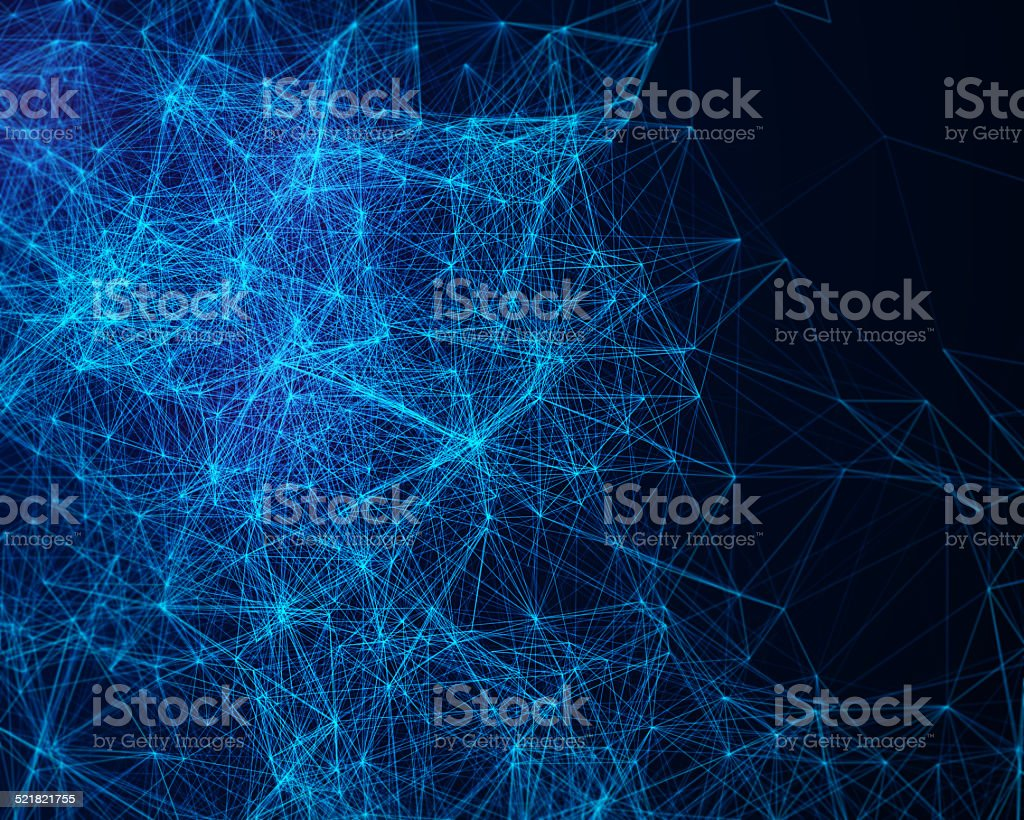Abstract digital background with cybernetic particles stock photo