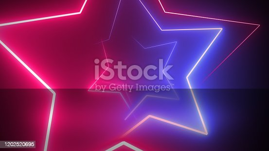 Abstract digital background with neon stars.