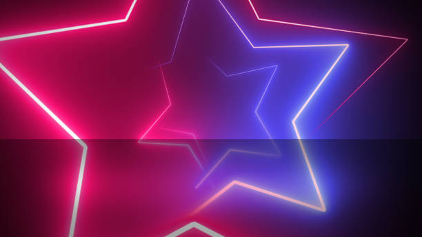 Abstract digital background with neon stars.. Abstract digital background with neon stars. disco lights stock pictures, royalty-free photos & images