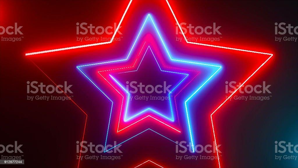 Abstrato base digital com estrelas de néon - foto de acervo
