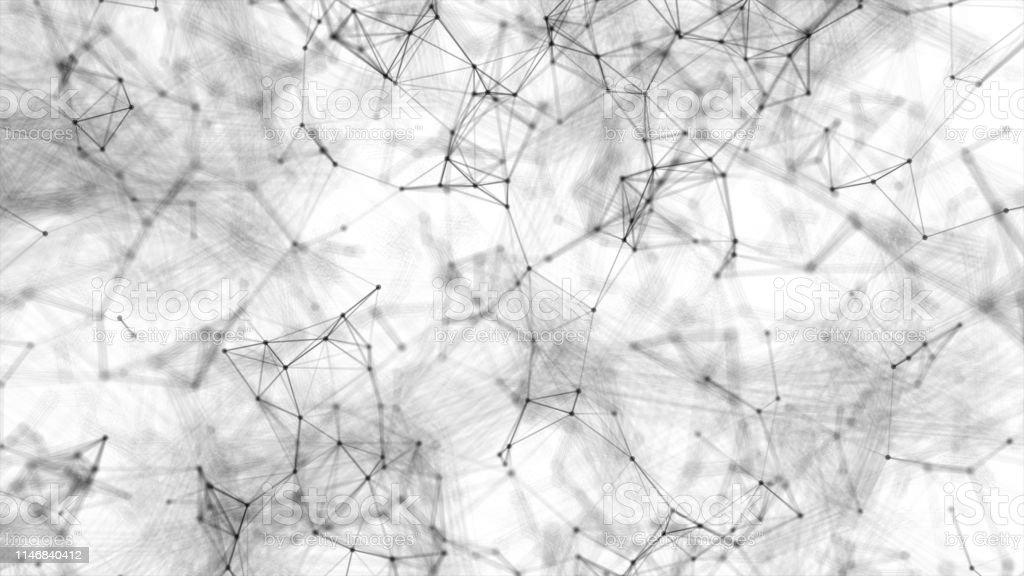 Abstract digital biological technology system platform dot line light...