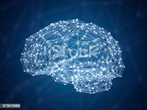 istock Abstract digital brain, dots and lines in form of human brain, artificial intelligence concept, triangulated brain 970829988