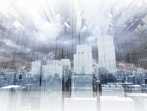Abstract digital cityscape, skyscrapers 3d render stock photo