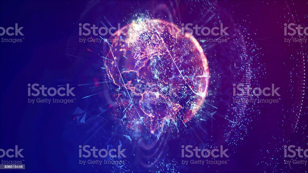 Abstract Digital Earth Globe, American Continent stock photo